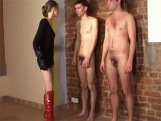 Skinny blonde dominatrix whips and slaps two submissive dudes