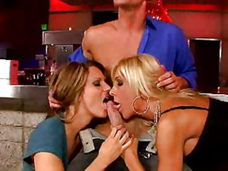 Smoking mamas Misty and Elle know how to share this rock hard tool.