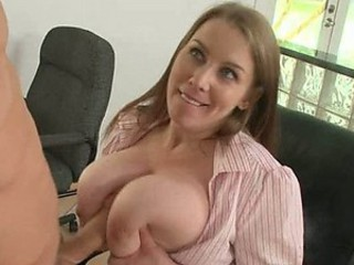 Big Breasted Boss Titty Fucks in the Office