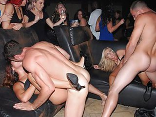 Loud music and everyone dancing, party in the club goes one and people are having fun! But 2 couples are getting into mood even hotter, here a smutty passionate brunette and her sizzling hot blonde girlfriend are being fucked in all the holes by 2 dudes!