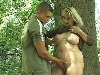 Blonde Chubby Mature Natural Outdoor