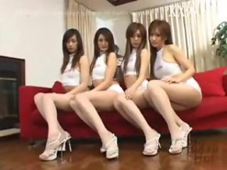 Four Asian chicks in an orgy
