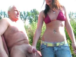 Amateur European German Handjob Old and Young Outdoor