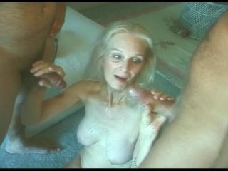 Silver Haired Granny in Lingerie and Stockings Doubles Up