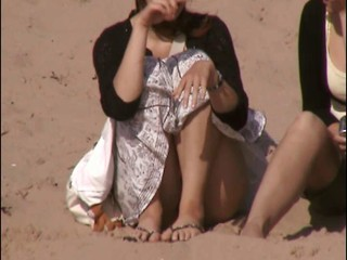 sitting on beach upskirt