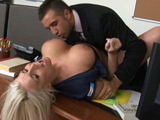 Amazing Big Tits Blonde Office