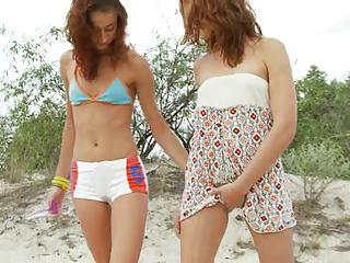 Russian Lesbians Dildoing On The Sand