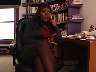 Big Tits Ebony MILF Office Pornstar