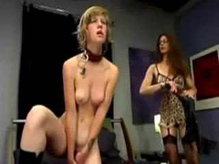Girl With Collar Masturbating With Dildo While Whipp...