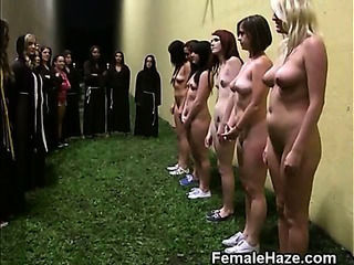 College Girls Lined Up Agains...