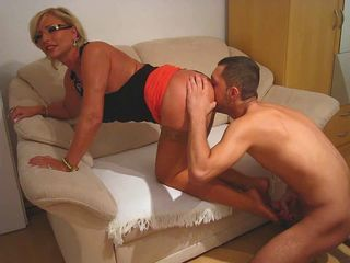 Blonde Glasses Licking Mature Pornstar Stockings