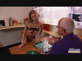Beautiful Young And Skinny Girl With An Ugly Oldman