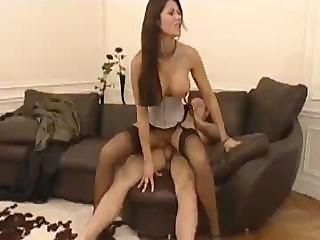 Rich man rubs brunette's clit