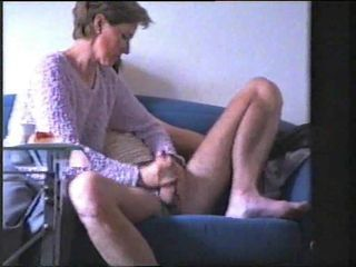 Amateur wife jerking hubby cock