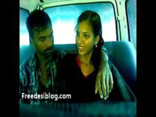 Hot sexy indian lovers kissing with each other in car