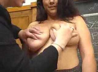 busty teacher works over student