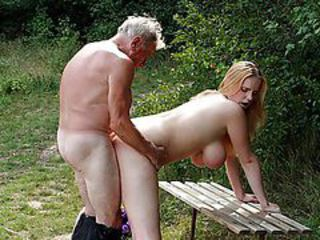 Super Busty Blonde Babe Gets Fucked By an Old Man Outdoors