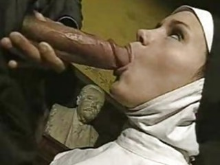 Big cock Blowjob Cute Nun Uniform