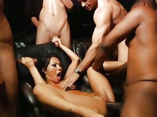 Hot slut Asa Akira is gangbanged by a group of spunk filled prick shafts