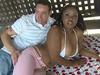 Sexy and Big Breasted Ebony Laylani Star Having Interracial Sex Outdoors