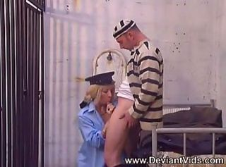 Officer takes her prisoner's dick in the ass
