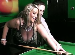 BBW blonde in nylon done on a pool table _: bbw big boobs hardcore