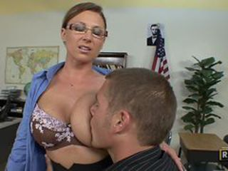 Big Tits Brunette Glasses Lingerie MILF Pornstar School Teacher