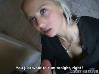 Spectacular Blonde Czech Teen Sucks Dick in POV Vid