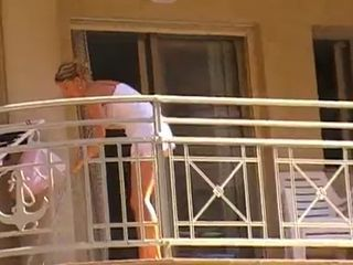 Women cleaning balcony no panties upskirt 1