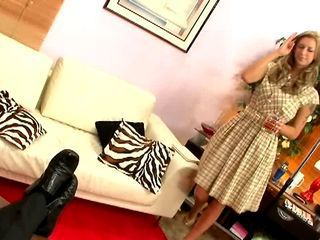 Blond housewife banged hard by her man