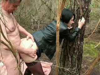 Amateur Clothed Doggystyle Old and Young Outdoor Stockings