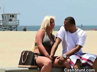 Chubby Blonde Fingered On Public Beach