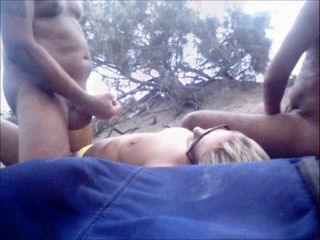 Amateur Beach Interracial Outdoor Wife