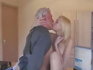 Blonde Kissing Old and Young Teen
