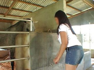Asian Farm Jeans Riding Teen