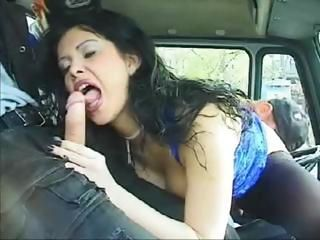 Busty brunette trucker whore ...