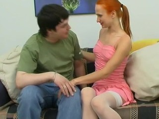 Redhead Stockings Teen