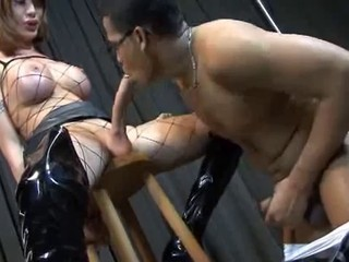 Shemale - Huge Cock in Fishnets