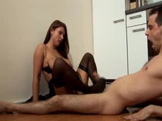 Big Tits Brunette Feet Fetish Kitchen MILF Stockings Wife