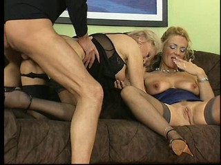 Babe Doggystyle Groupsex Hardcore Lingerie MILF Natural Pussy Stockings Threesome