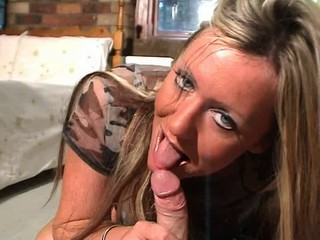 British slut Sarah Louise sucks...