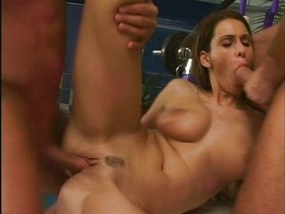 This Chick Fucks With Two Guys In Gym