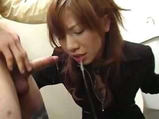 Aki Yatoh gets a rough face fuck and a mouth full of warm cum