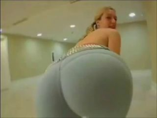 Big ass MILF blonde in tight yoga pants