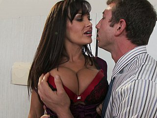 Amazing Big Tits Brunette Cute MILF Office Pornstar Silicone Tits