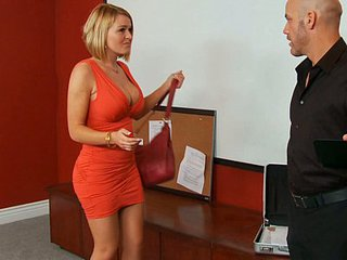 Amazing Big Tits Blonde Cute MILF Office