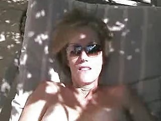 Big Tits Blonde Mature MILF Outdoor