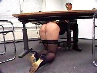 Ass Blowjob Brunette MILF Office Pornstar Stockings