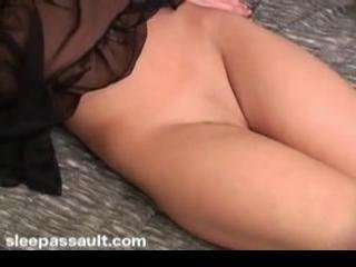 Fucking the sleeping girl and cumming on her