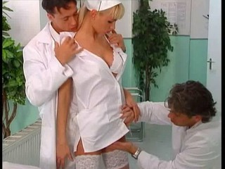 hot nurse double fucked by two...